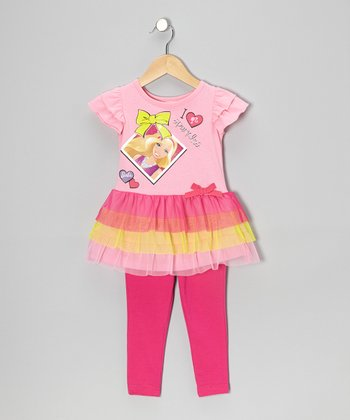 Pink & Yellow Barbie Tulle Tunic & Leggings - Toddler & Girls