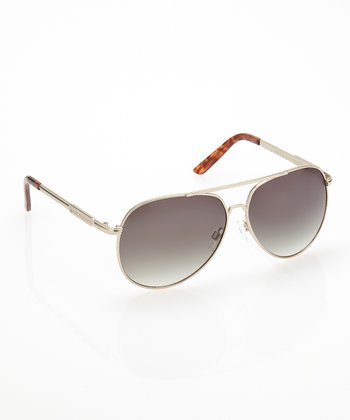 Brown Metal Pilot Sunglasses