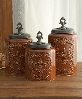 Brown Antiqued Canister Set