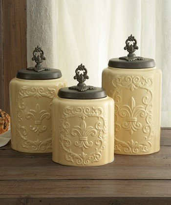 Cream Antiqued Canister Set