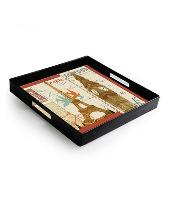 Paris & London Travel Postcards Rectangle Tray
