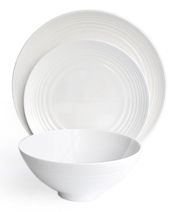 White Round 12-Piece Dining Set