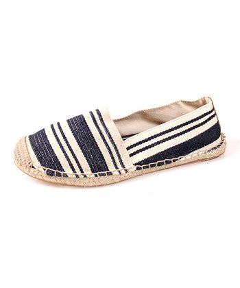 Navy Stripe Foxy Canvas Flat