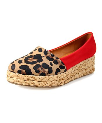 Red & Brown Leopard Platform Espadrille