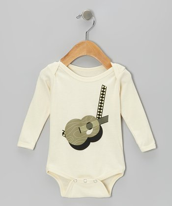 Natural Acoustic Guitar Organic Long-Sleeve Bodysuit - Infant