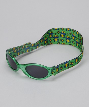 Green Translucent Frog Sunglasses & Strap - Infant