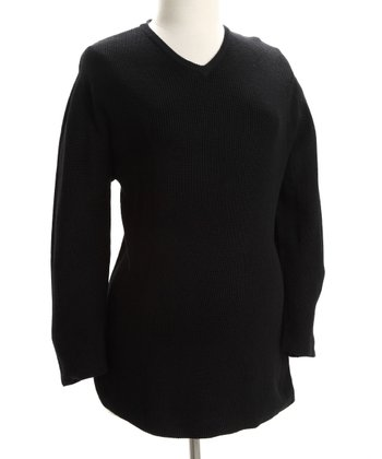 Black Maternity V-Neck Sweater