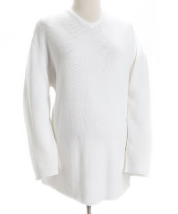 White Maternity V-Neck Sweater