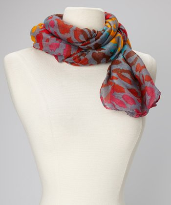 Orange & Gray Leopard Scarf