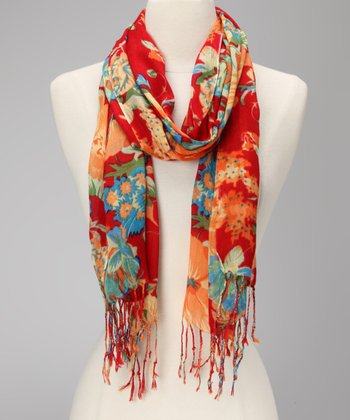 Red & White Floral Scarf