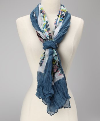Blue & White Butterfly Scarf