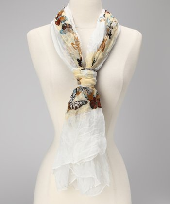 White & Yellow Butterfly Scarf