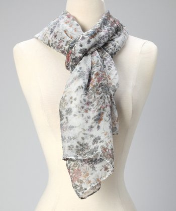Gray & White Floral T-Series Scarf