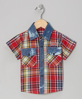 Red Western Plaid Short-Sleeve Button-Up - Infant