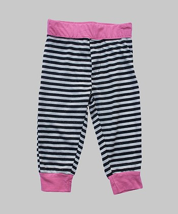 Black & Pink Stripe Cuff Pants - Infant & Girls