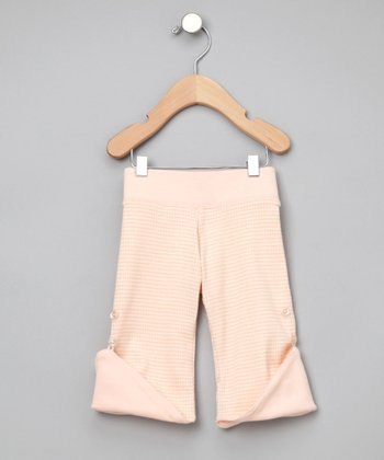 Peach Houndstooth Reversible Organic Pants - Infant