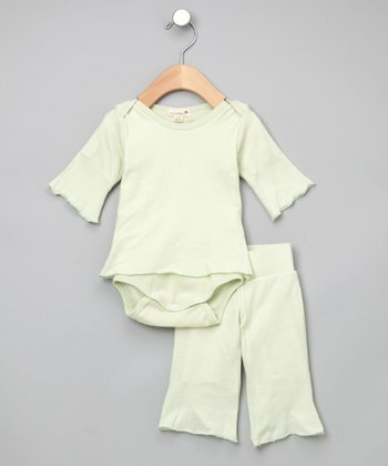 Dusty Moss Organic Yoga Pants & Bodysuit - Infant