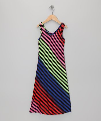 Black & Rainbow Maxi Dress - Toddler & Girls