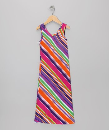 Fuchsia & Purple Stripe Maxi Dress - Toddler & Girls