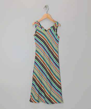 Teal & Purple Stripe Maxi Dress - Toddler & Girls