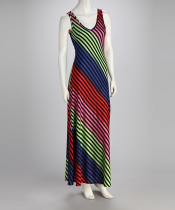Black & Rainbow Maxi Dress - Women