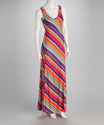 Fuchsia & Purple Stripe Maxi Dress - Women