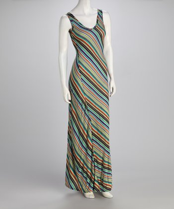 Teal & Purple Stripe Maxi Dress - Women
