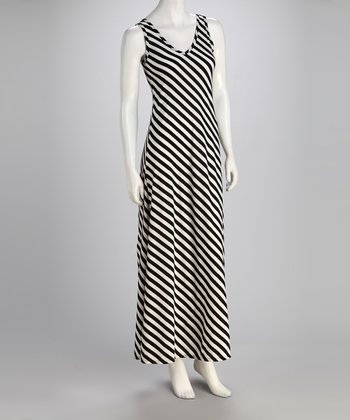 Black & White Stripe Maxi Dress - Women