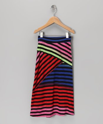 Black & Rainbow Stripe Maxi Skirt - Toddler & Girls