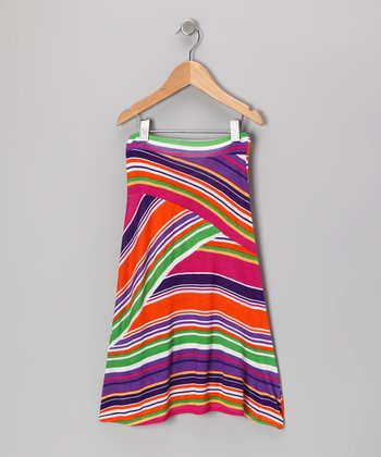 Fuchsia & Purple Stripe Maxi Skirt - Toddler & Girls