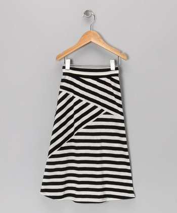 Black & White Stripe Maxi Skirt - Toddler & Girls