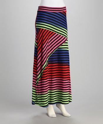 Black & Rainbow Stripe Maxi Skirt - Women