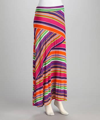 Fuchsia & Purple Stripe Maxi Skirt