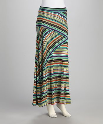 Teal & Purple Stripe Maxi Skirt - Women