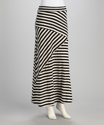 Black & White Stripe Maxi Skirt - Women
