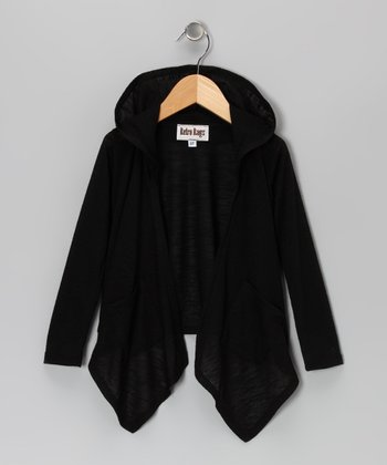 Black Hooded Sidetail Duster - Toddler & Girls