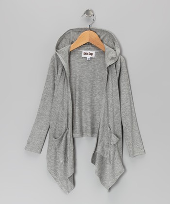 Gray Hooded Sidetail Duster - Toddler & Girls