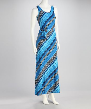 Royal & Black Zigzag Maxi Dress - Women