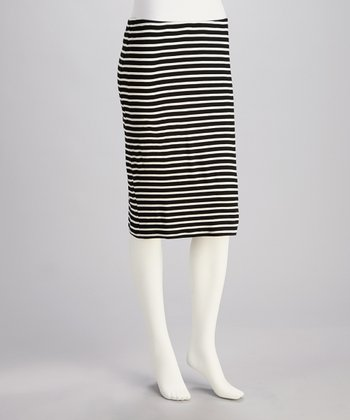 Black & White Stripe Pencil Skirt - Women