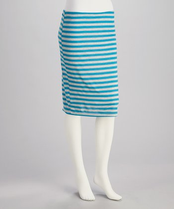 Blue & Gray Stripe Pencil Skirt - Women