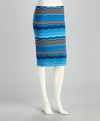 Royal & Black Zigzag Pencil Skirt - Women
