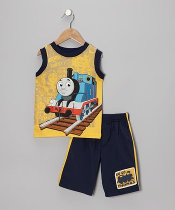 Yellow & Navy Thomas Tank & Shorts - Toddler