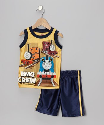 Yellow & Navy 'BMQ Crew' Thomas Tank & Blue Shorts - Toddler