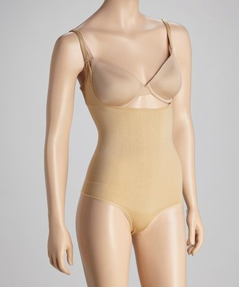Beige Seamless Thong Under-Bust Bodysuit - Women