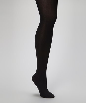 Jet Black Opaque Tights - Women