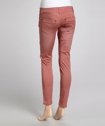Papaya Distressed Straight-Leg Jeans
