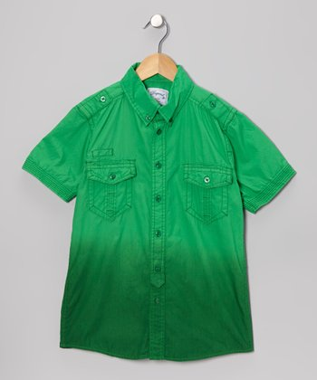 Green Ombré Button-Up - Boys