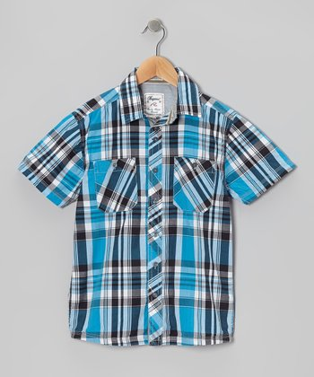 Blue Plaid Button-Up