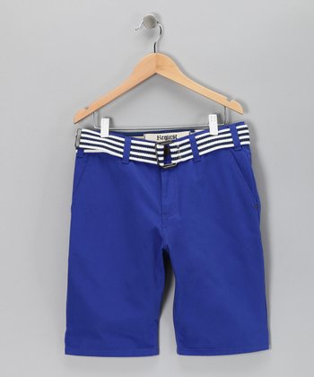 Blue Gem Belted Chino Shorts - Boys