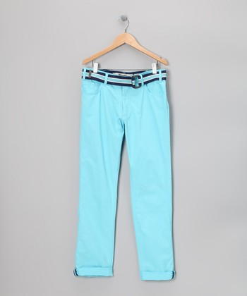 Aqua Belted Chino Pants - Boys